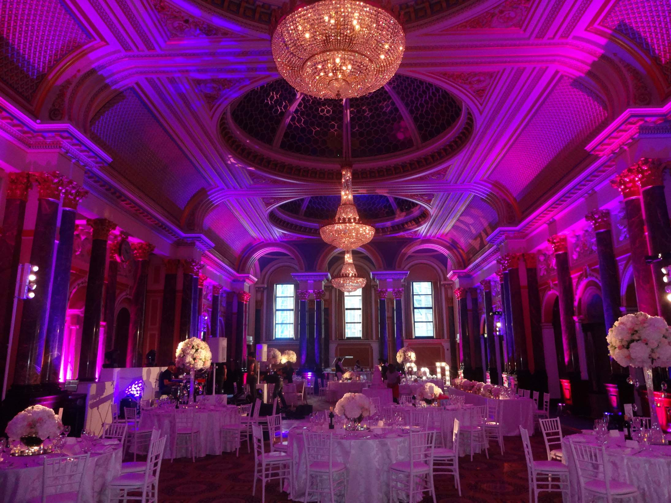 8 ideas on how to introduce a wedding colour theme pink lighting decorations at gibson hall junglespirit Gallery